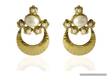 Kshitij Jewels White Drop Golden Crescent Earrings