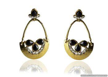 Kshitij Jewels Black Stone Drops Golden Basket Earrings