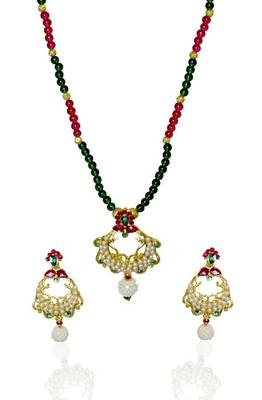 Kshitij Elite Cream & Green Bead Necklace Set,