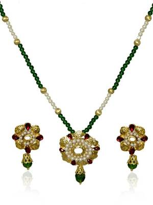 Kshitij Attractive Emerald Necklace Set