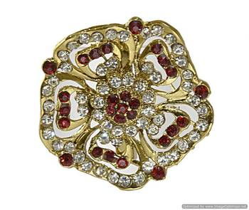 Gold-plated, floral brooch embedded with faux diamonds