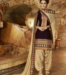 Buy Brown Cotton unstitched salwar with dupatta patiala-salwar online