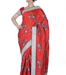 Buy Orange embroidered Silk saree with blouse silk-saree online