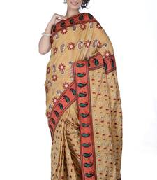 Buy Beige embroidered Silk saree with blouse silk-saree online