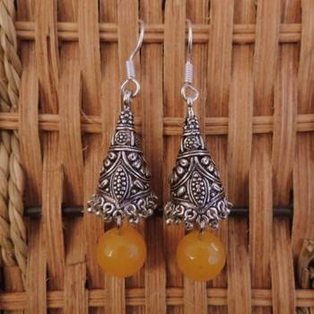 Unique Jhumka - yellow