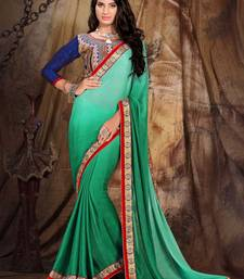 Buy Green embroidered art_silk saree with blouse heavy-work-saree online