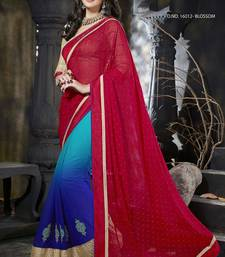 Buy Multicolor embroidered art_silk saree with blouse heavy-work-saree online