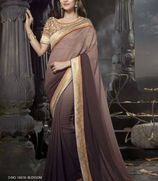 Buy Brown embroidered art_silk saree with blouse heavy-work-saree online