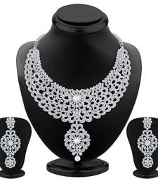 Buy Creative Rhodium Plated AD Necklace Set necklace-set online