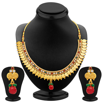 Luxurious Gold Plated Temple Jewellery Necklace Set