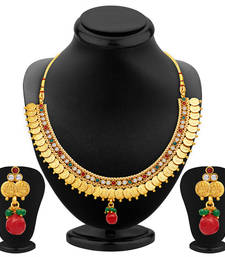 Buy Luxurious Gold Plated Temple Jewellery Necklace Set necklace-set online