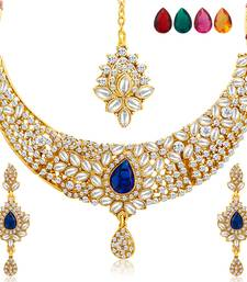 Buy Stylish Gold Plated AD Necklace Set with Set of 5 Changeable Stone eid-jewellery online