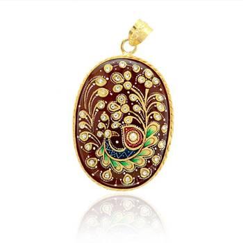 Tanjore Peacock Pendant