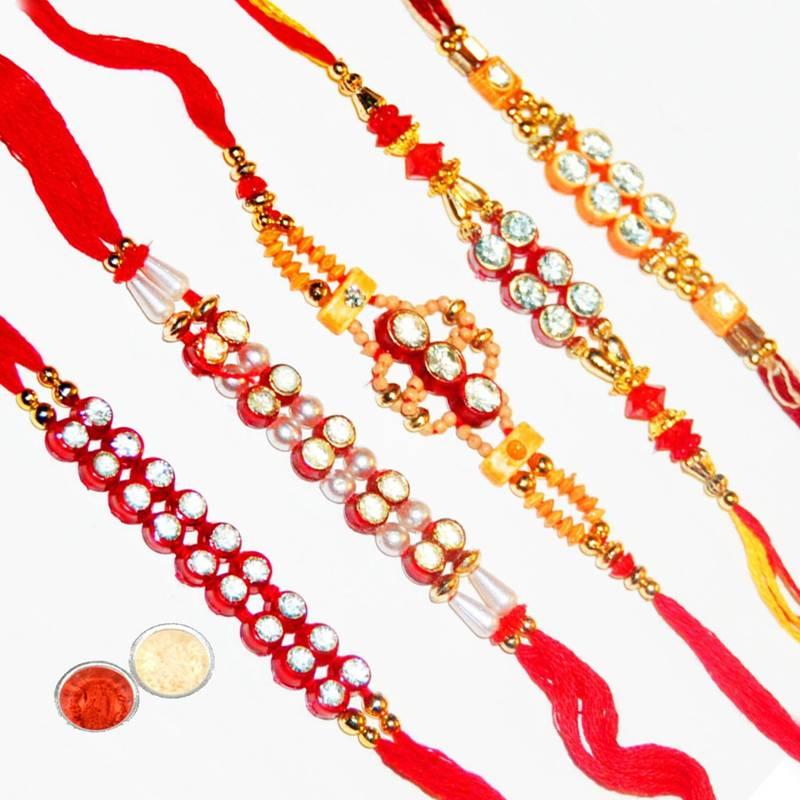 Buy Handcrafted Designer Fancy Rakhi Set Online