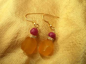 Pink on yellow Earrings -02031