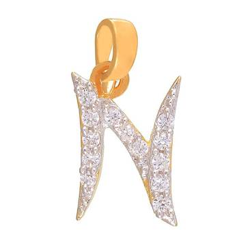 Mahi Natural N Initial Pendant with CZ