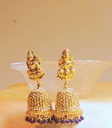 Buy goddess laxmi blue  gold platted jhumkaas jhumka online